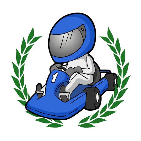 cartoon karting illustratie
