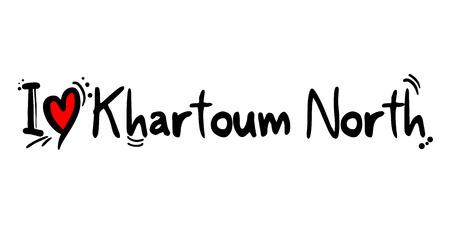 Khartoum North city of Sudan love message Vetores