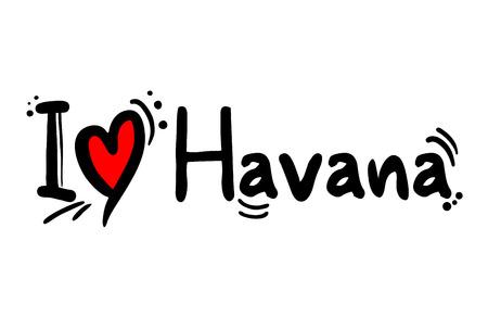 I love Havana message Vector Illustration