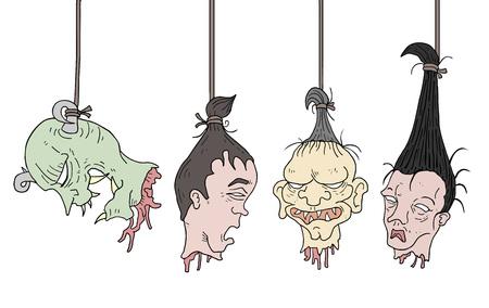 horror hanging heads Illustration