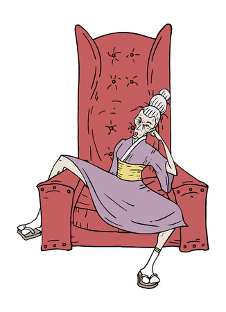 woman sit in armchair Ilustrace