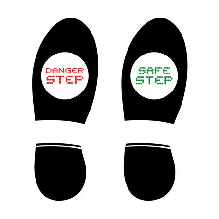 safe and danger footstep symbols