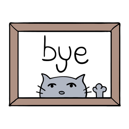 adorable cat and bye message