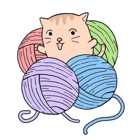 baby cat playing with balls of wool Иллюстрация