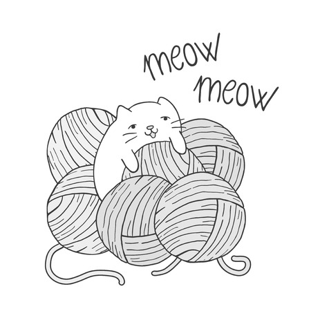 baby cat playing with balls of wool Illusztráció