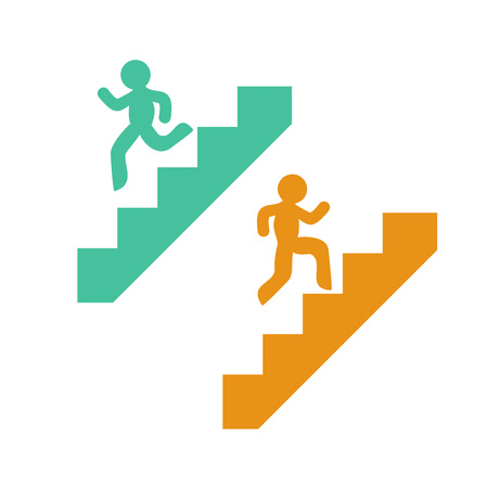 símbolos de subir y bajar escaleras Ilustración de vector