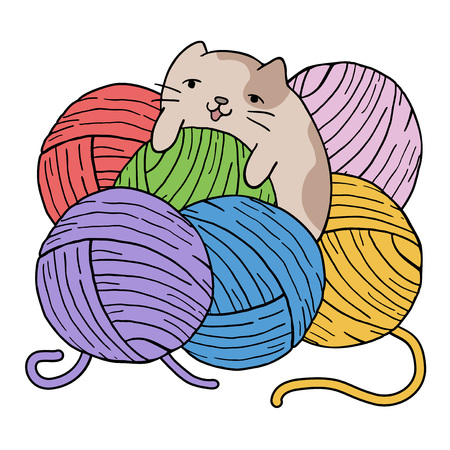 cat playing with balls of wool