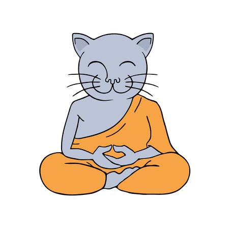 funny cat meditating Stock Vector - 115131092