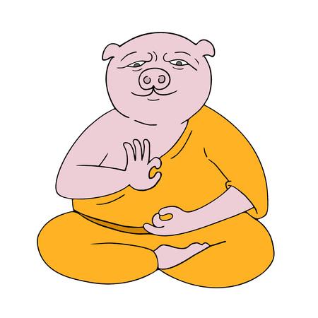 funny pig meditating