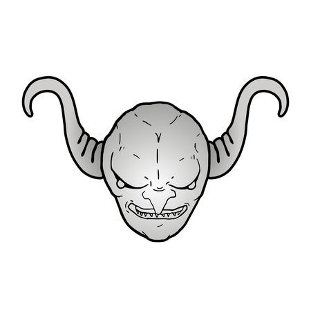 metallic demon face
