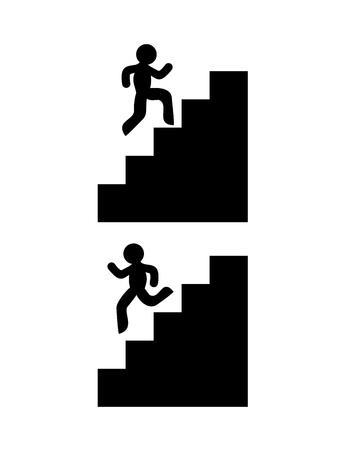 Symbole für Treppensteigen und Treppensteigen