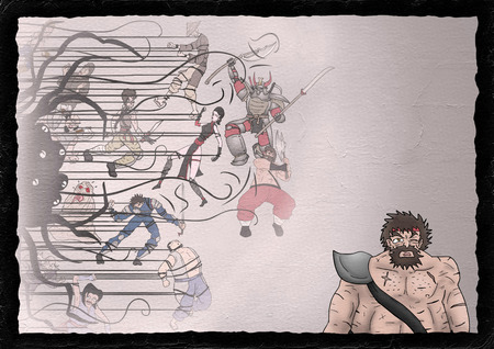 imaginative comic scene illustration Stock Photo