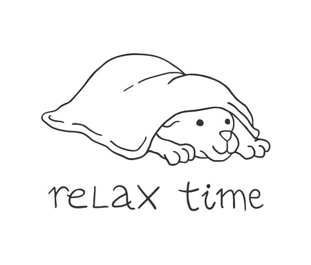 Relax time dog draw Stock Vector - 125782480