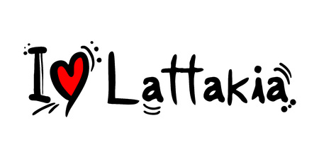 Lattakia city of Syria love message Illustration