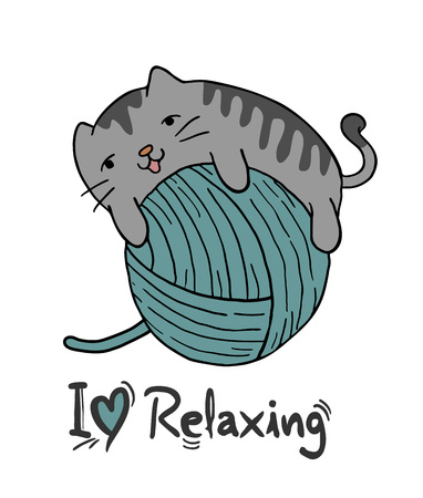baby cat playing with balls of wool Vector Illustration