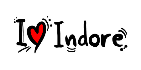Indore city of India love message Stock Illustratie