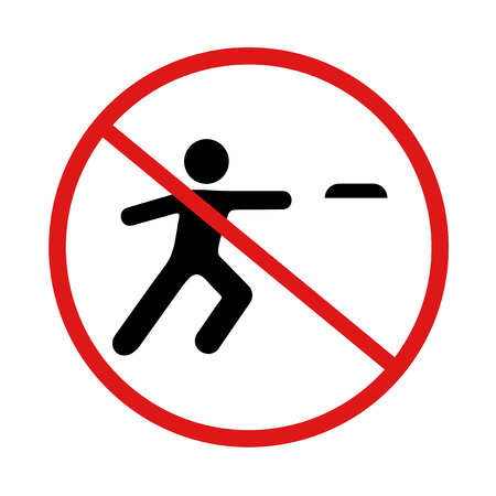 prohibited playing flying disc symbol