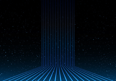 light lines and universe stars in background Illustration