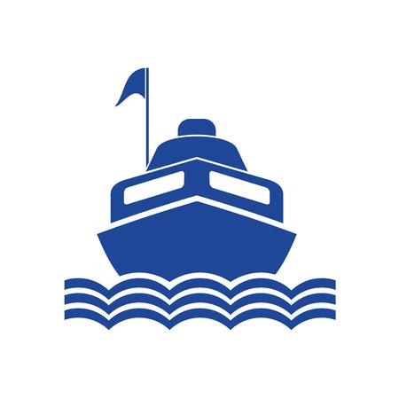 motor boat flat draw Stockfoto - 124996434