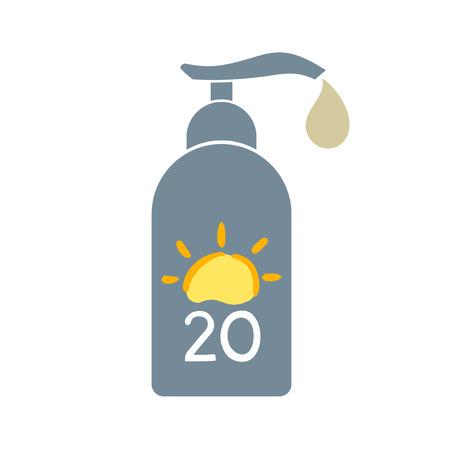 Sun protect bottle icon Illustration