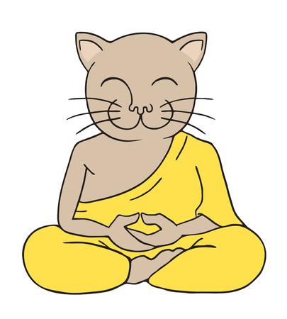chat drôle méditant