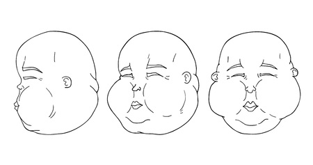 Three pose faces