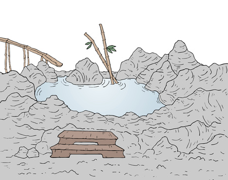 Lake in rocks illustration