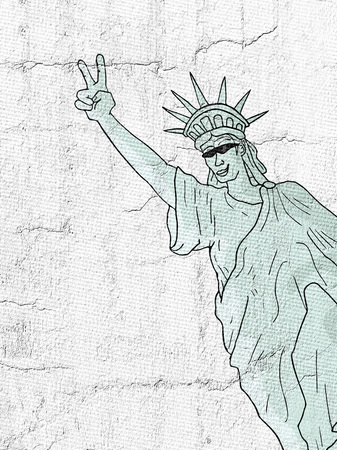 happy liberty statue