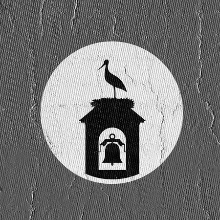 stork in tower bell illustration Stock Illustration - 119399599