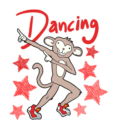 dancing monkey illustration