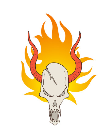 demon skull with horns