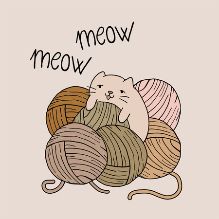 baby cat playing with balls of wool Illustration