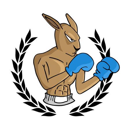 boxing kangaroo illustration