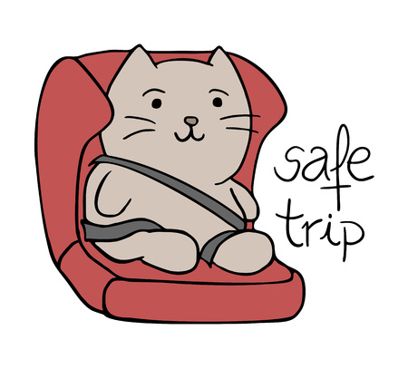 cat in safety seat Иллюстрация