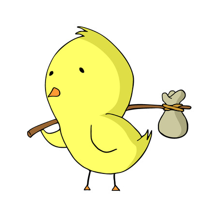 homeless chicken illustration Çizim