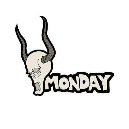 Monday and demon skull face