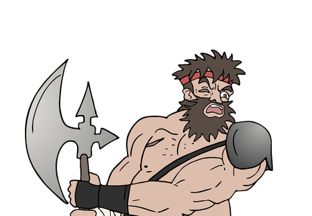 warrior with ax draw