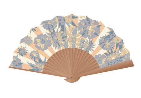 Vintage hand fan illustration on white 矢量图像