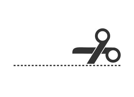 scissors cutting line illustration