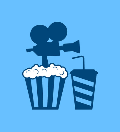 popcorn and soda drink icon Çizim