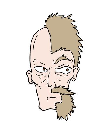 half beard cartoon face draw