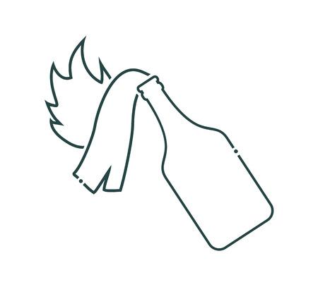 molotov cocktail flat icon Vector Illustration