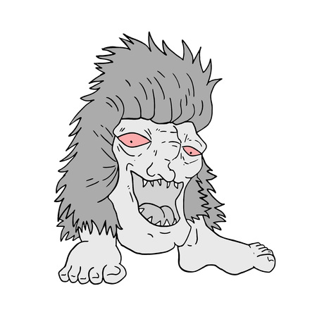 Design of ugly monster draw Ilustração