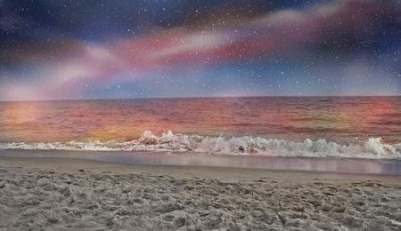 Paradise beach in the night
