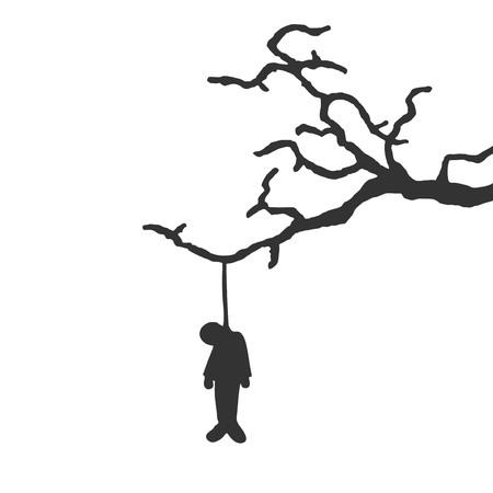Design of hanged man in tree Illustration