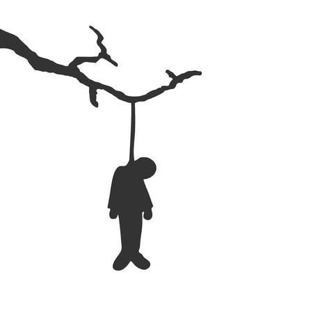 Design of hanged man in tree Çizim