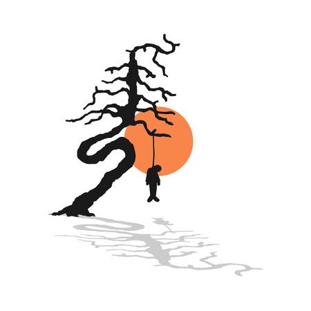 draw of dead man in tree Çizim