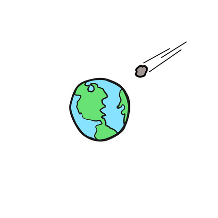 Meteorite falling in the earth Illustration