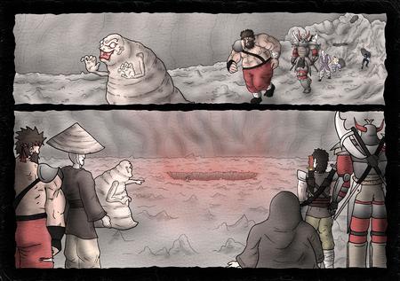 imaginative comic scene illustration Imagens - 123596904