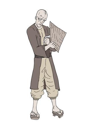 vieil homme oriental chauve dessiner Vecteurs